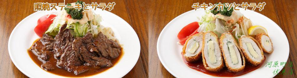 照焼ステーキとサラダ、チキンカツとサラダ(共通メニューの一部)
